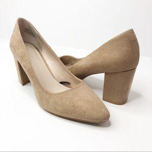 H&M Faux Suede Pumps Block Heel Nude Tan Sz 9.5 US